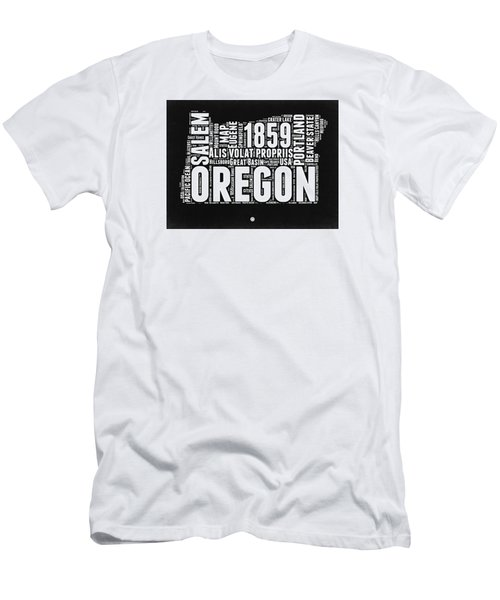 Oregon Black And White Map Men's T-Shirt (Slim Fit) by Naxart Studio