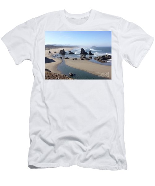 Men's T-Shirt (Athletic Fit) featuring the photograph Oregon Coast Sea Stacks by Barbara Von Pagel