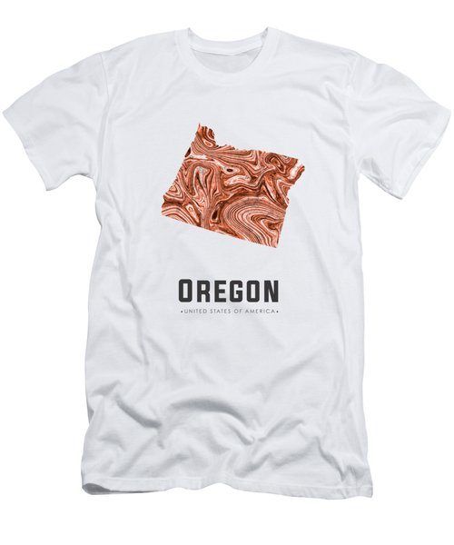 Oregon Map Art Abstract In Brown Men's T-Shirt (Athletic Fit)