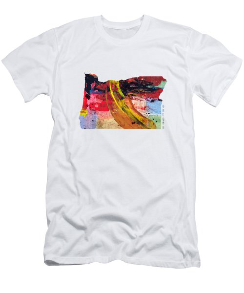Oregon Map Art - Painted Map Of Oregon Men's T-Shirt (Athletic Fit)