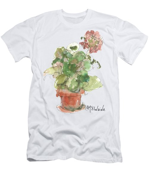 Original Buspaintings Geranium Watercolor Painting By Kathleen Mcelwaine Men's T-Shirt (Athletic Fit)