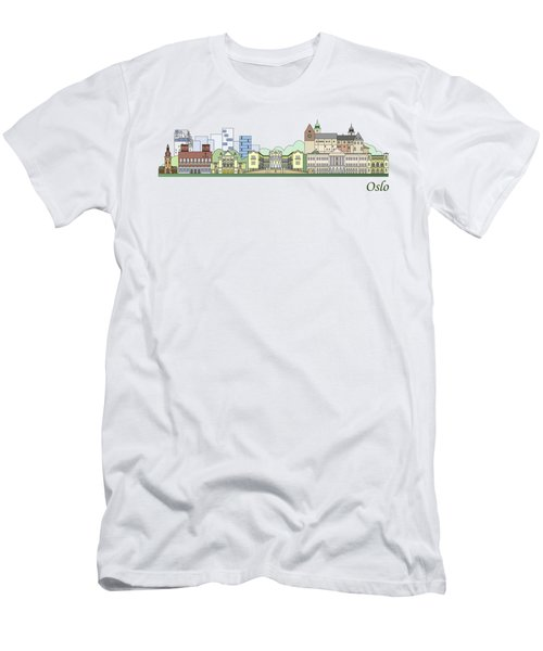 Oslo Skyline Colored Men's T-Shirt (Athletic Fit)