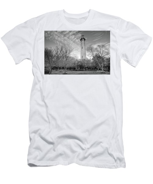 Men's T-Shirt (Slim Fit) featuring the photograph Outer Banks Winter At The Currituck Lighthouse Bw by Dan Carmichael