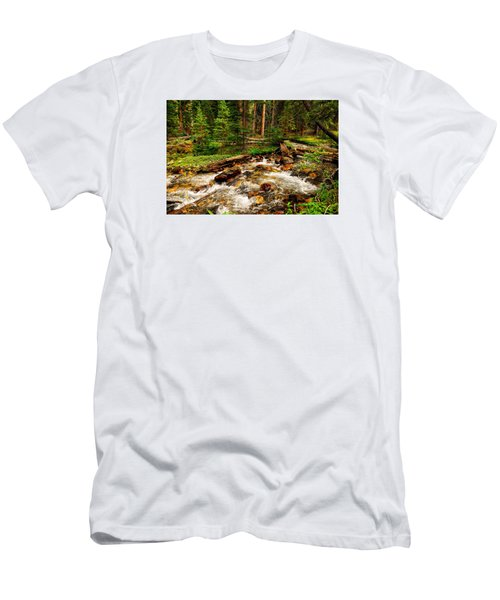 Pahsimeroi Cascades Men's T-Shirt (Slim Fit) by Greg Norrell