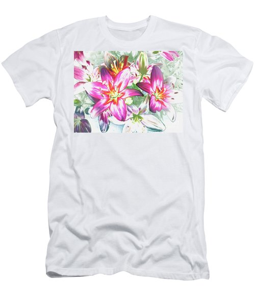 Painterly Pink Tiger Lilies Men's T-Shirt (Slim Fit) by Annie Zeno