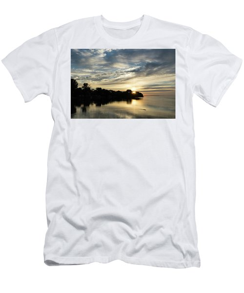 Pale Gold Sunrays - A Cloudy Sunrise With Two Ducks Men's T-Shirt (Athletic Fit)
