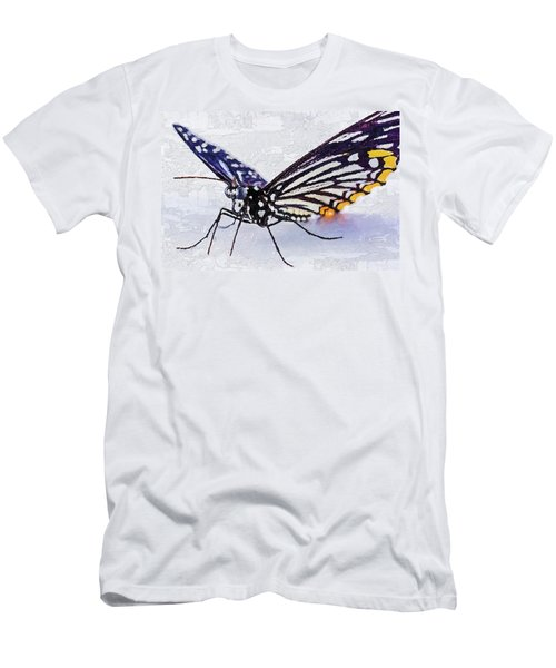 Men's T-Shirt (Athletic Fit) featuring the digital art Pallete Knife Painting Blue Butterfly by PixBreak Art