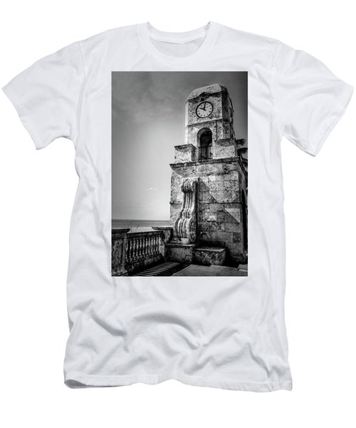 Palm Beach Clock Tower In Black And White Men's T-Shirt (Athletic Fit)