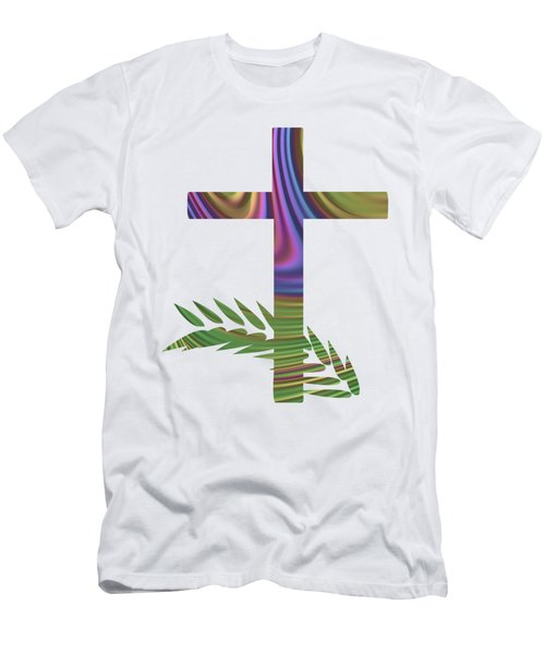 Palm Sunday Cross With Fractal Abstract Men's T-Shirt (Athletic Fit)