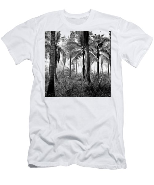 Men's T-Shirt (Athletic Fit) featuring the photograph Palm Trees - Black And White by Marianna Mills