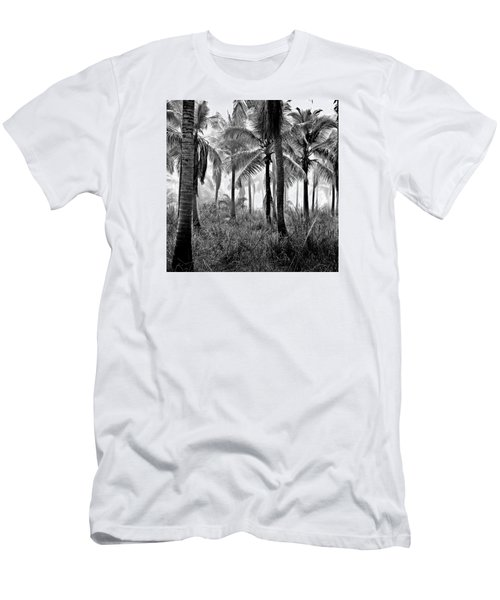 Palm Trees - Black And White Men's T-Shirt (Athletic Fit)