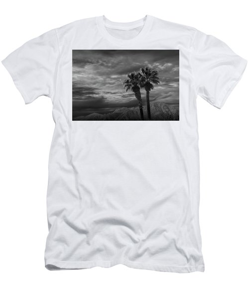 Men's T-Shirt (Slim Fit) featuring the photograph Palm Trees By Borrego Springs In Black And White by Randall Nyhof