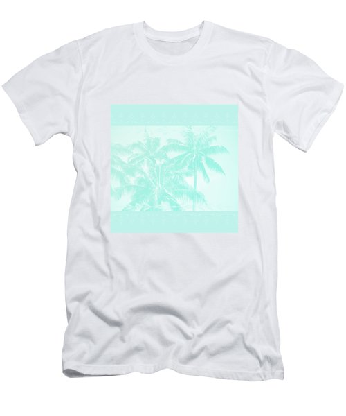Palm Trees Hawaii Tropical Cyan Men's T-Shirt (Athletic Fit)