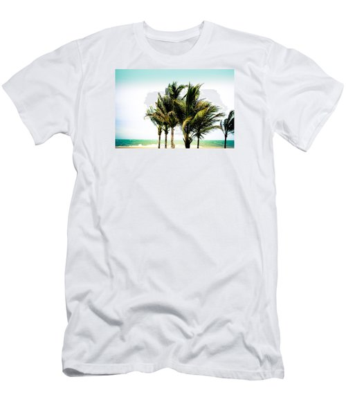 Men's T-Shirt (Slim Fit) featuring the photograph Palm Trees Ocean Breeze by Colleen Kammerer
