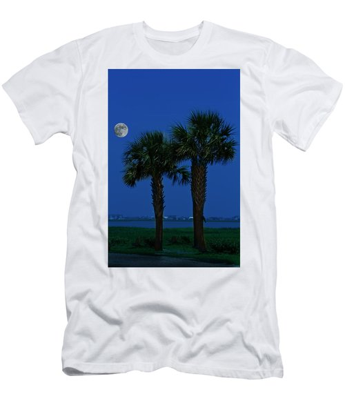 Palms And Moon At Morse Park Men's T-Shirt (Slim Fit) by Bill Barber