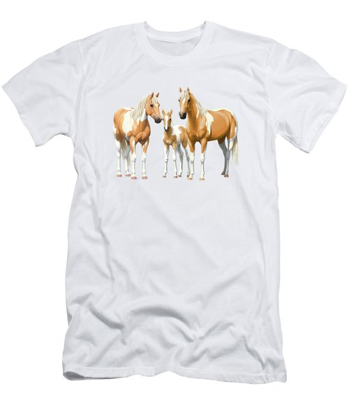Palomino Paint Horses In Winter Pasture Men's T-Shirt (Athletic Fit)