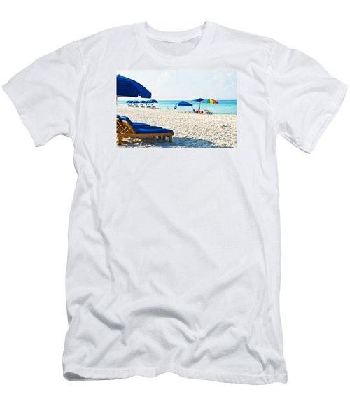 Panama City Beach Florida With Beach Chairs And Umbrellas Men's T-Shirt (Slim Fit) by Vizual Studio