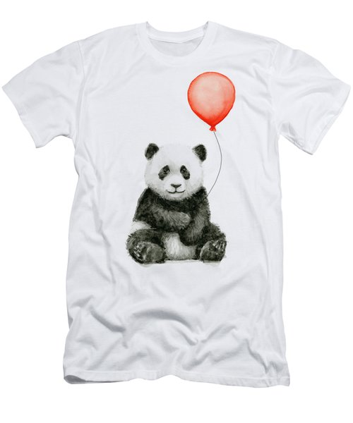 Panda Baby And Red Balloon Nursery Animals Decor Men's T-Shirt (Athletic Fit)