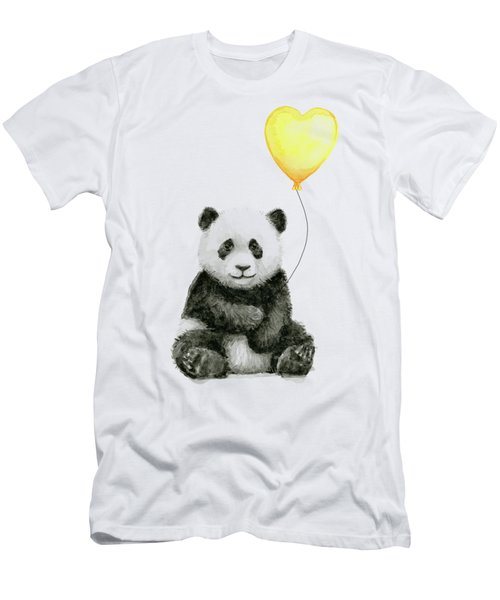 Panda Baby With Yellow Balloon Men's T-Shirt (Athletic Fit)