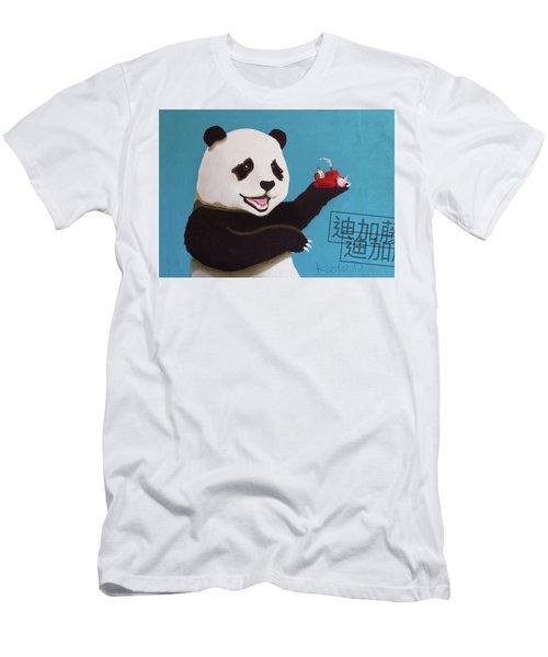 Panda Joy Blue Men's T-Shirt (Athletic Fit)
