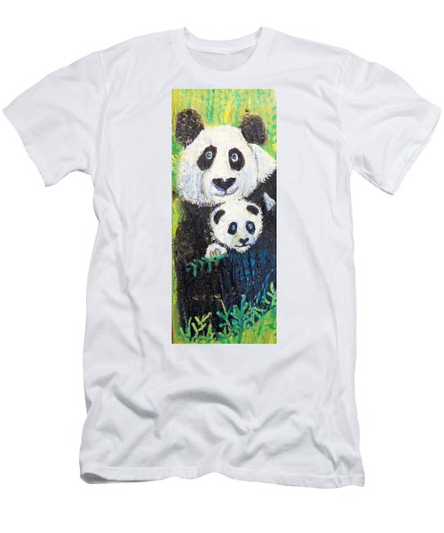 Panda Mother And Cub Men's T-Shirt (Slim Fit) by Ann Michelle Swadener