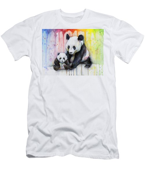 Panda Watercolor Mom And Baby Men's T-Shirt (Athletic Fit)