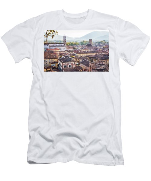 Men's T-Shirt (Athletic Fit) featuring the photograph panorama of old town Lucca, Italy by Ariadna De Raadt