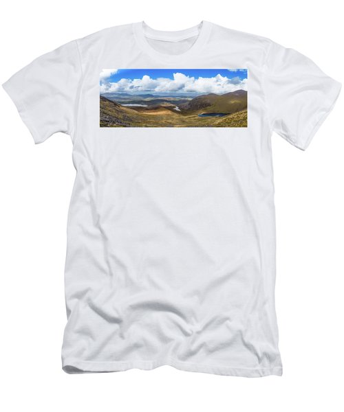 Panorama Of Valleys And Mountains In County Kerry On A Summer Da Men's T-Shirt (Slim Fit) by Semmick Photo