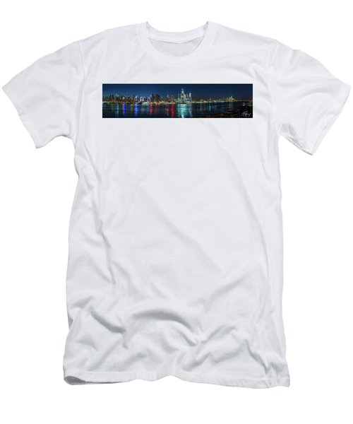 Panoramic Skyline-manhattan Men's T-Shirt (Athletic Fit)