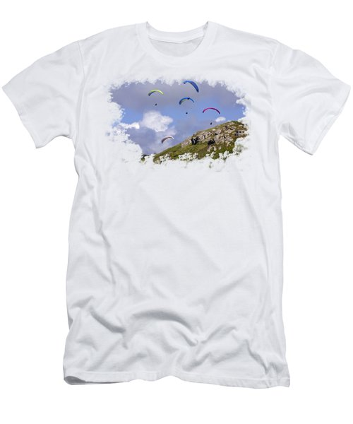 Paragliding Over Sennen Cove On Transparent Background Men's T-Shirt (Slim Fit) by Terri Waters