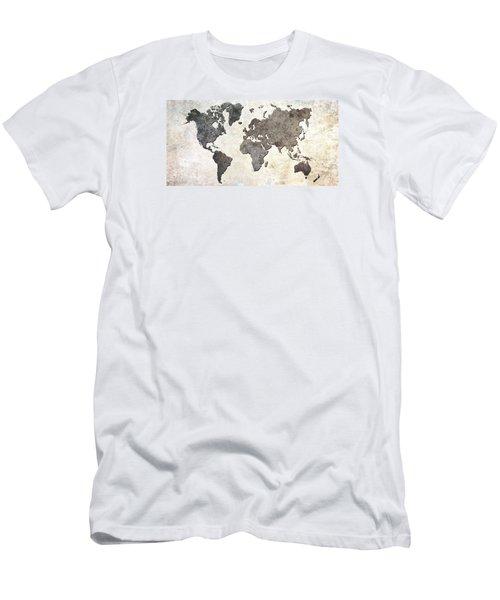 Parchment World Map Men's T-Shirt (Slim Fit) by Douglas Pittman