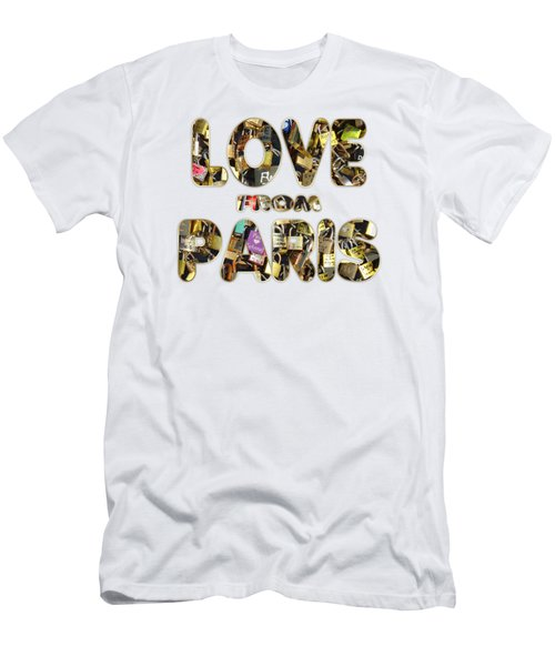 Men's T-Shirt (Slim Fit) featuring the painting Paris City Of Love And Lovelocks by Georgeta Blanaru