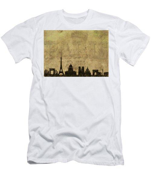 Paris Skyline Postcard Men's T-Shirt (Athletic Fit)