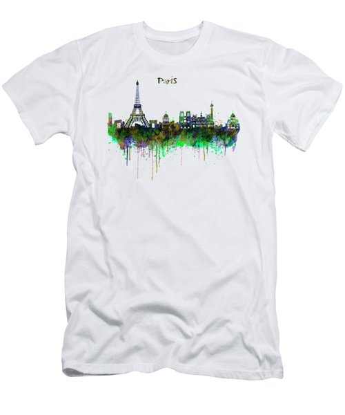 Paris Skyline Watercolor Men's T-Shirt (Slim Fit) by Marian Voicu