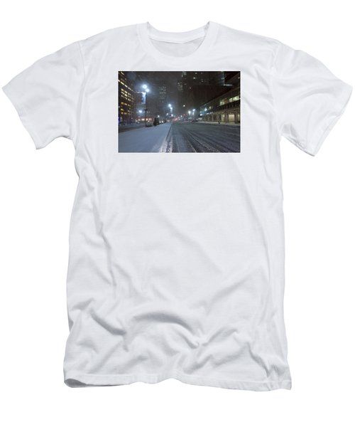 Park Avenue Near Lever Building In Snow Storm Late Night Men's T-Shirt (Athletic Fit)