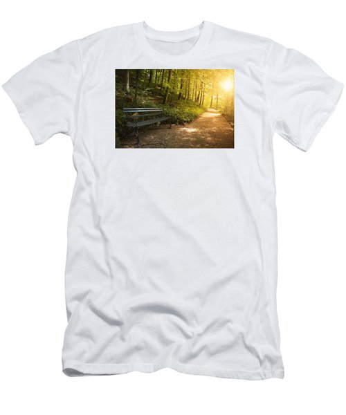 Park Bench In Fall Men's T-Shirt (Slim Fit) by Chevy Fleet