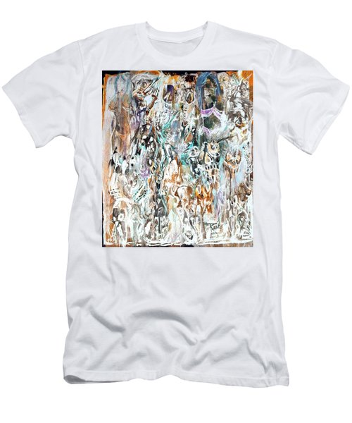 Men's T-Shirt (Athletic Fit) featuring the painting Past Life Trauma Inverted by Reed Novotny