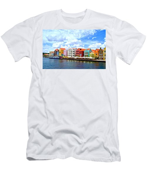 Pastel Building Coastline Of Caribbean Men's T-Shirt (Athletic Fit)
