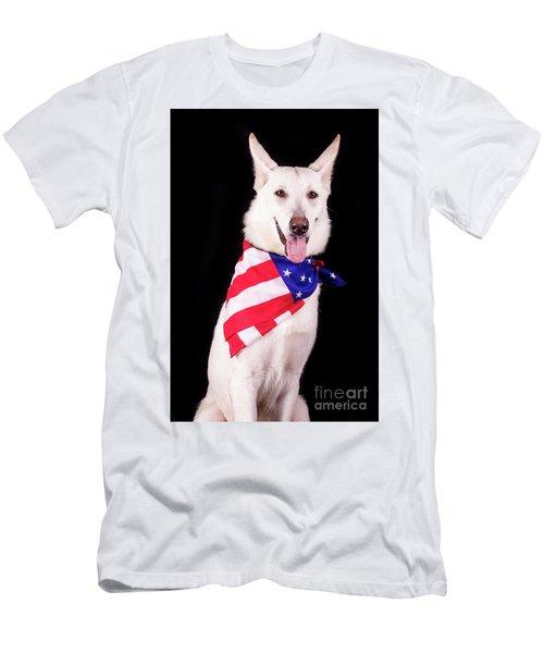 Patriotic Dog Men's T-Shirt (Slim Fit) by Stephanie Hayes