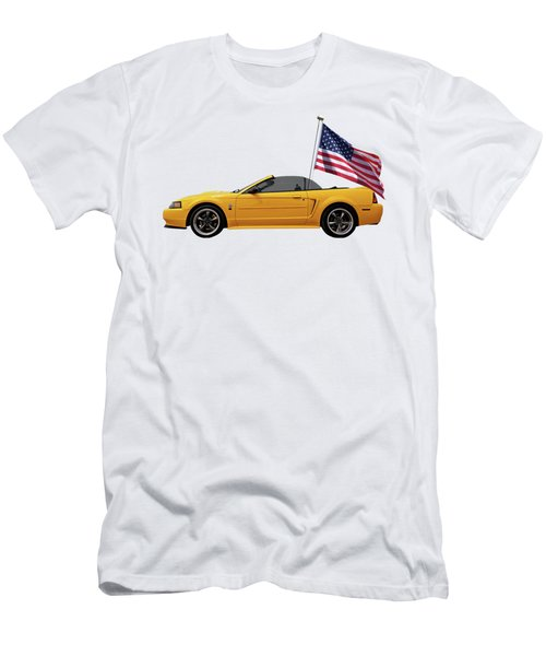 Patriotic Yellow Mustang With Us Flag Men's T-Shirt (Slim Fit) by Gill Billington