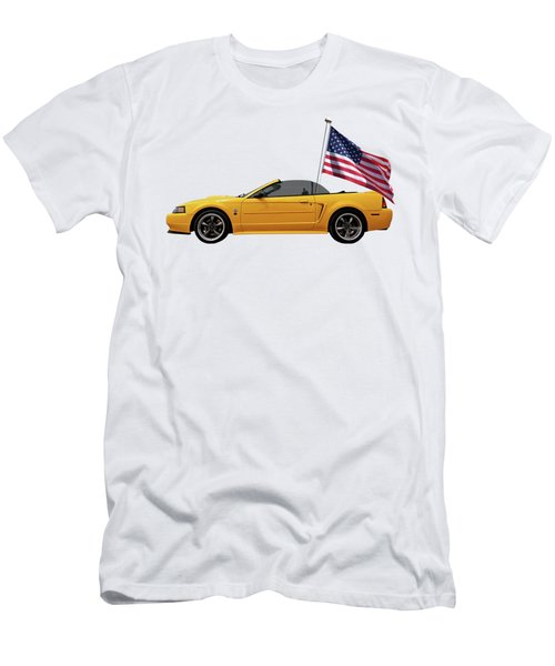 Patriotic Yellow Mustang With Us Flag Men's T-Shirt (Athletic Fit)