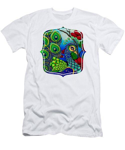 Peacock Zentangle Inspired Art Men's T-Shirt (Athletic Fit)