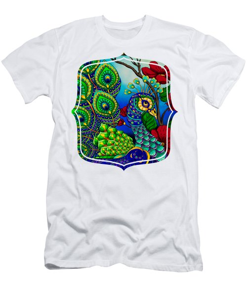 Peacock Zentangle Inspired Art Men's T-Shirt (Athletic Fit)