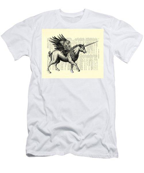Pegasus Black And White Men's T-Shirt (Athletic Fit)