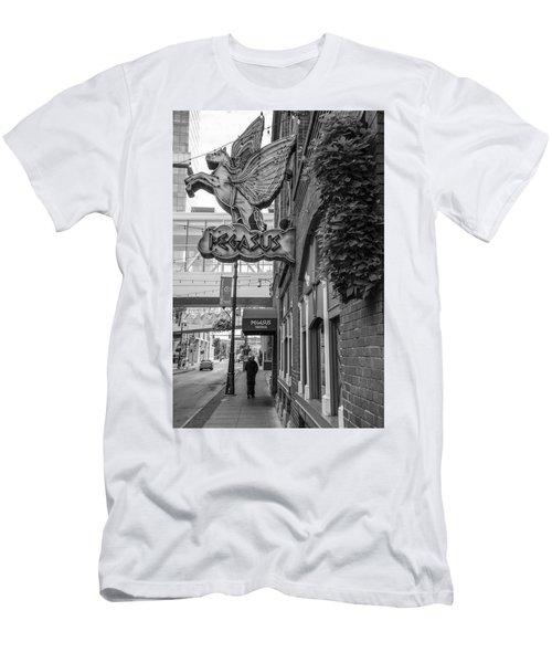 Pegasus In Detroit Black And White  Men's T-Shirt (Athletic Fit)