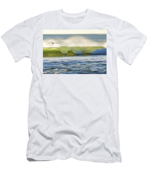 Men's T-Shirt (Slim Fit) featuring the photograph Pelican Flying Over Wind Wave by John A Rodriguez