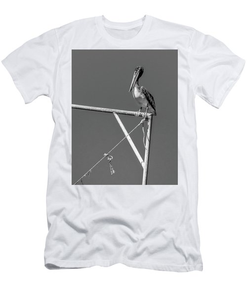 Pelican In Black And White Men's T-Shirt (Athletic Fit)