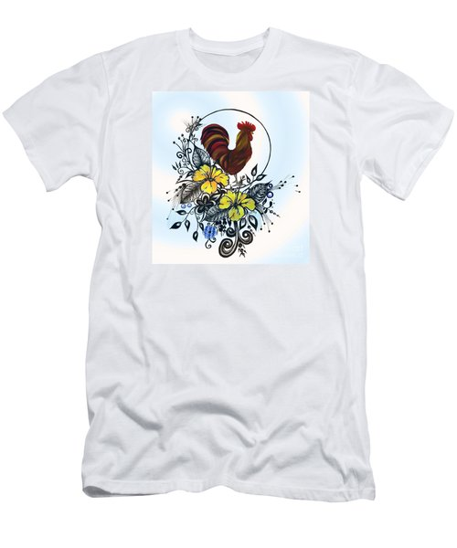 Pen And Ink Drawing Rooster Art Watercolor And Digital Art Men's T-Shirt (Slim Fit) by Saribelle Rodriguez