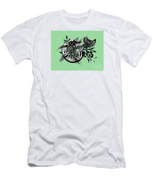 Pen And Ink Drawing Hugs Green Art Men's T-Shirt (Slim Fit) by Saribelle Rodriguez