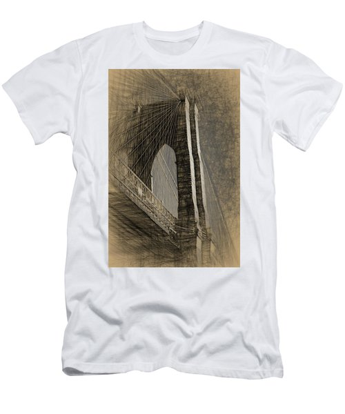 Pencil Sketch Of The Brooklyn Bridge Men's T-Shirt (Athletic Fit)